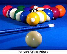 Bolas de billar sobre el paño azul.