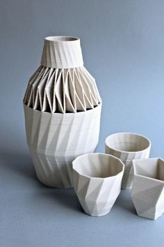 3-D printed ceramic Carafe and cups by Unfold (Belgium)