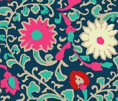 suzani_navy fabric by silverkaos on Spoonflower - custom fabric