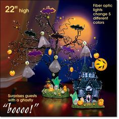 Happy Hauntings Fiber Optic Stacked Pumpkin by RUSS Retired Vintage