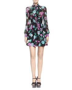 Saint Laurent Tie Neck Silk Floral Print Dress