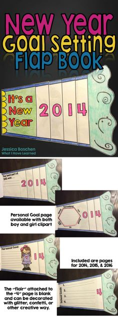 New Year Goal Setting Flap Book - love this for advisory kids' time capsule New Years Activities, Holiday Activities, Classroom Activities, First Day Of School, School Days, New Year Goals, New Year's Crafts, Character Education, Nouvel An