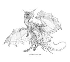 Draw Creatures dragon-by-brynnmetheney - The daily sketch event, Monster Month, has come to a close. It was so much fun to participate when I could. The final prompt was to draw a dragon so here's my contribution. Creature Concept Art, Creature Design, Creature Drawings, Animal Drawings, Fantasy Creatures, Mythical Creatures, Dragon Anatomy, Dragon Artwork, Dragon Drawings