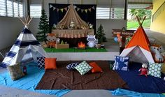 There's nothing more fun than a Woodland Camping Birthday Party in your house! This party features tents for a sleepover, yummy camping treats, and more. 3 Year Old Birthday Party Boy, Birthday Party Themes, Birthday Ideas, 2nd Birthday, Bear Birthday, Fairy Birthday, Camping Parties, Camping Theme, Kid Parties