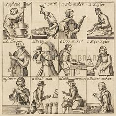 London tradesmen. 17th-century artwork of twelve London trades depicted in a religious pamphlet  a group of nonconformist dissenting Protestant denominations that arose in the 16th and 17th centuries. The trades illustrated are: confectioner, smith, shoemaker, tailor, saddler, porter, boxmaker, soap boiler, glover, meal-man (a dealer in flour), chicken-man, and button-maker. Published in London in 1647