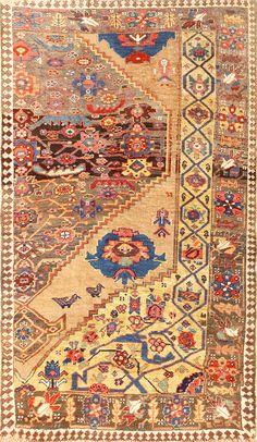 Rare Antique Tribal Persian Bidjar Sampler Rug 48628