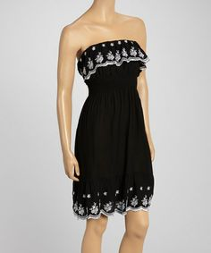 Love this Black Ruffle Embroidered Strapless Dress - Women by Shoreline on #zulily! #zulilyfinds