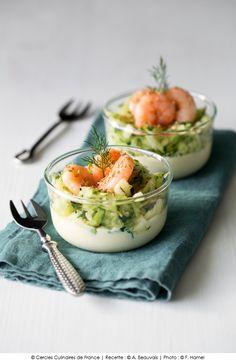 Verrines de #courgettes et de #crevettes, sauce au curcuma