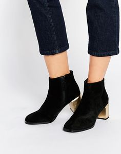Image 1 ofSenso Vincent Black Suede Gold Heel Boots