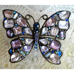 Rhinestone Butterfly Pin, Vintage, Made in Czechoslovakia, Marked... (£26) ❤ liked on Polyvore featuring jewelry, brooches, rhinestone pins brooches, vintage jewellery, vintage butterfly brooch, pin jewelry and vintage broach