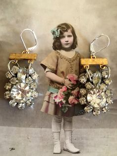 its all coming up roses: vintage assemblage earrings, boho bling, repurposed…
