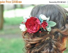 Items similar to Red Flower Hair Comb with Pearl Accents, French Beaded Flower Hair Comb, Red Flower Hair Accessory on Etsy