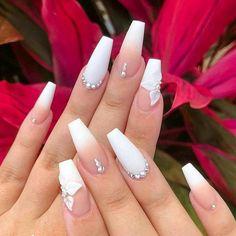 Milky Nails♥️ - - - via White Coffin Nails, Acrylic Nails Coffin Short, Summer Acrylic Nails, Best Acrylic Nails, Matte White Nails, Cute Acrylic Nail Designs, White Nail Designs, Wedding Acrylic Nails, Wedding Nails
