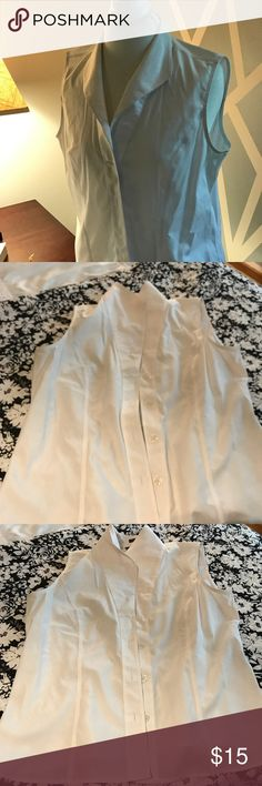 Sleeveless button down shirt Only used once very beautiful with jeans and or suit. Jones New York Tops Button Down Shirts