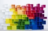 Designkast - bibliotheek in verschillende kleuren