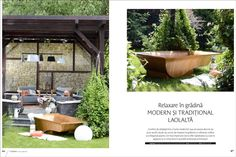 The Accacio bathtub, made from carefully selected Acacia wood was featured in a creative pictorial combining modern and traditional trends in design. Traditional Trends, Outdoor Furniture Sets, Outdoor Decor, Acacia Wood, Design Projects, Bathtub, Deck, Patio, Creative