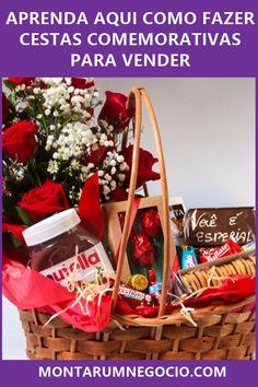 Confira aqui como fazer cestas comemorativas para vender e comece ganhar dinheiro My Jam, Ale, Picnic, Basket, Gift Wrapping, Earn Money, Wine Baskets, Chocolate Baskets, To Sell