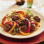 Meatballs and Peppers Recipe | MyRecipes.com Calories 263/Fat 10g/Carb 12g/Fiber 2g/Protein 30g
