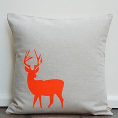 Cushion Cover - Neon Orange Small Stag - Screen printed - Natural Colour (Linen Cotton 40x40cm) on Etsy, $28.51 CAD
