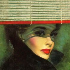 Face of Woman in Black behind raised Venetian blinds by Unknown Illustrator