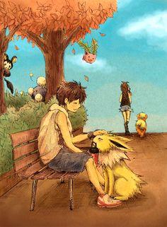 Jolteon with partner, Growlithe with companion, Hoppip, Jumpluff & Emolga.