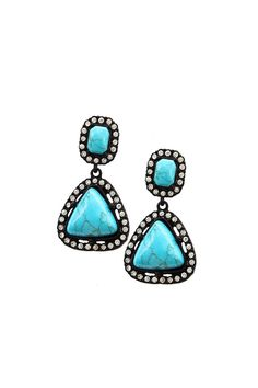 """These turquoise drop earrings have a halo of crystals surrounding them. These earrings have a post back.    Dimensions:Earrings are approximately 1.75"""" long.   Turquoise Dangle Earrings by Wild Lilies Jewelry . Accessories - Jewelry - Earrings Pennsylvania"""