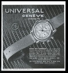 """1947 Universal Geneve """"Business Man's Chronograph"""" vintage print ad. #universal #geneve #business #chronograph #watch #watches #vintage #ads #stawc"""
