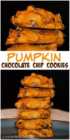 Chocolate Chip Cookies - these soft pumpkin cookies are loaded with lots of chocolate chips.Pumpkin Chocolate Chip Cookies - these soft pumpkin cookies are loaded with lots of chocolate chips. Soft Pumpkin Cookies, Pumpkin Chocolate Chip Cookies, Pumpkin Dessert, Cookies Soft, Healthy Pumpkin Cookies, Butterscotch Cookies, Chocolate Biscuits, Chocolate Muffins, Chocolate Chocolate
