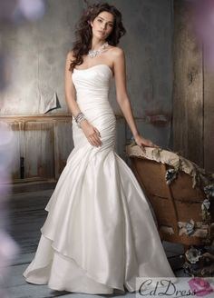 Trumpet Strapless Floor-length Satin Wedding Dress - CDdress.com