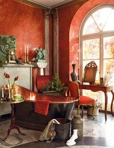 Bagno rosso pompeiano. Boiserie & C