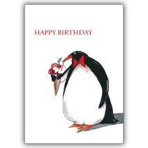Fröhliche Pinguin Geburtstagskarte: Happy Birthday