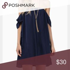 NWOT bare shoulders dress in navy blue. NWOT bare shoulders dress in navy blue. Super cute vintage style dress that is off the shoulders. Flowy chiffon like material. Boutique Dresses Mini