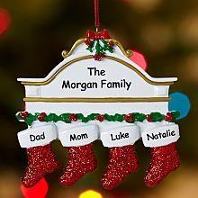 Stockings on Mantel Family Ornament