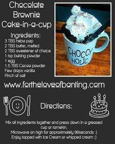 Banting Desserts, Banting Recipes, Paleo Dessert, Low Carb Recipes, Chocolate Brownie Cake, Brownie In A Mug, Chocolate Chips, Pap Recipe, Banting Diet