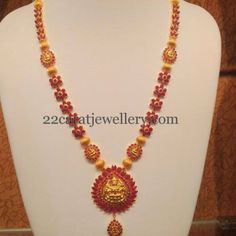 Jewellery Designs: Ruby Floral Long Chain with Lakshmi