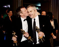 Our Academy Award-winning directors, Spike Jonze and Alfonso Cuarón. #Her #Gravity #Oscars