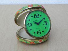 Bradley Green Flower Case Wind Up Travel Clock