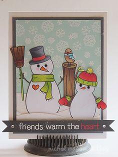card christmas snowman bird Lawn Fawn Making Frosty Friends  Lawn Fawn Card by Nichol Maguoirk.