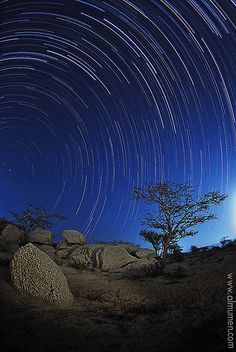 Star Trails - This is a 2 hours exposure time to capture star trails over Taif, west of Saudi Arabia.