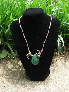 semi precious stone, copper, viking chair, freshwater pearls, toggle, necklace