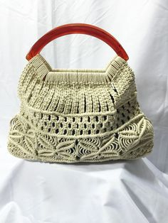MAGICAL MACRAME TOTE Vintage Macrame Purse With Amber Colored Handle