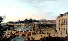 Fernando VI y Bárbara de Braganza en los jardines del Palacio de Aranjuez (Madrid, Spain) Francesco Battaglioli (ca. 1725-ca. 1790)