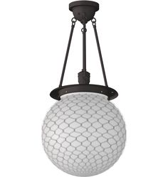 """Hood Classic Globe Pendant for LAUNDRY RM?  ,14"""" diam opal globe shade with wire mesh.  Oil rubbed bronze.  Use LED 100watt equivalent"""