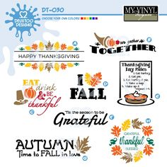 DIGITAL DOWNLOAD ... Thanksgiving vectors in AI, EPS, GSD, & SVG formats @ My Vinyl Designer #myvinyldesigner #deuxtoodesigns