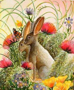 Jackrabbit in Cactus Flowers - Southwest Art Print - Desert wildlife - Whimsical Childrens Fun | BarbaraSpencerJump - Pr