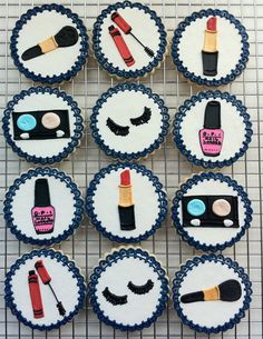 Decorated Makeup Party Cookies assorted by peapodscookies on Etsy, $48.00