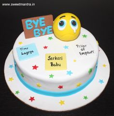 Farewell theme small designer fondant cake with sad smiley for an IT employee's farewell at Pune