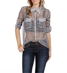 ♥ Sheer houndstooth shirt