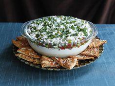 Mediterranean 7 Layer Dip - Healthy Appetizer Party Recipe