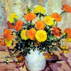 Sybil Craig (Australian, 1901-1989) - Marigolds in a White Vase